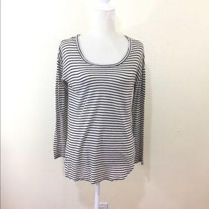 Lush White Striped High Low Long Sleeve